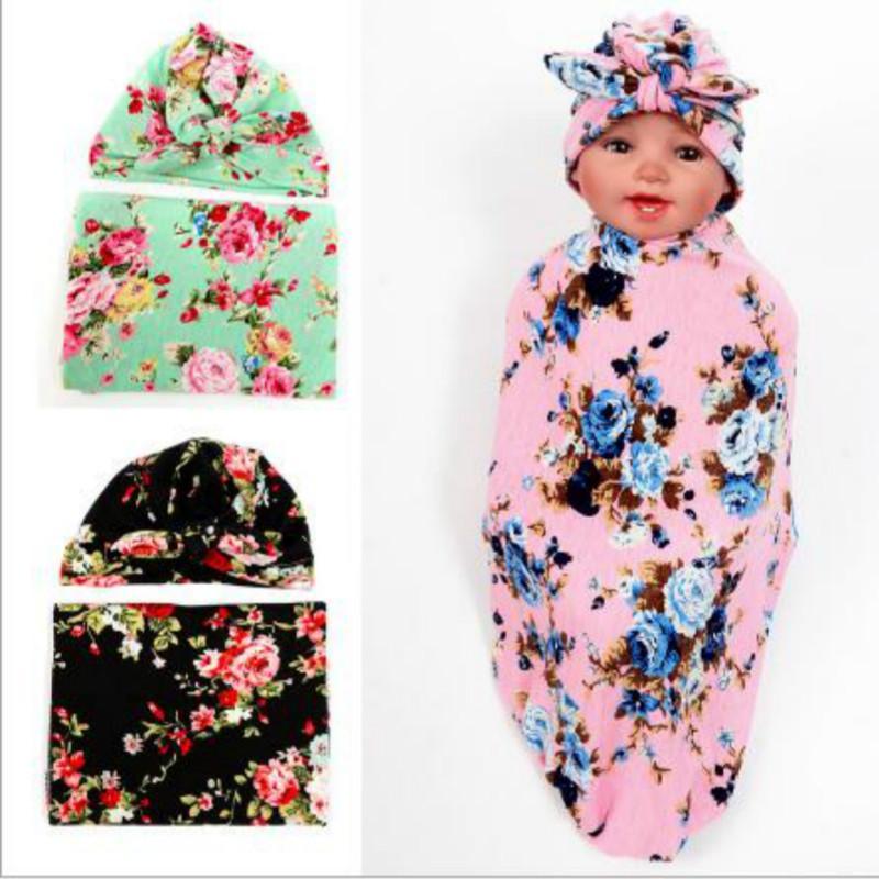 Baby Floral Swaddle Blanket Rabbit Ear Top India Hat Newborn Shower Gift Flower Parrern Hospital Cap With Waddle Set Cotton 1set Men's Hats