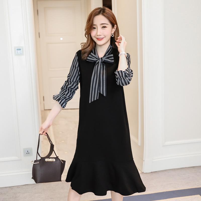 77b8db2af Compre Vestido Largo De Maternidad De Moda Coreana Otoño Dulce Elegante Ropa  Para Mujeres Embarazadas Embarazo De Primavera Trabajo De Oficina Desgaste  A ...