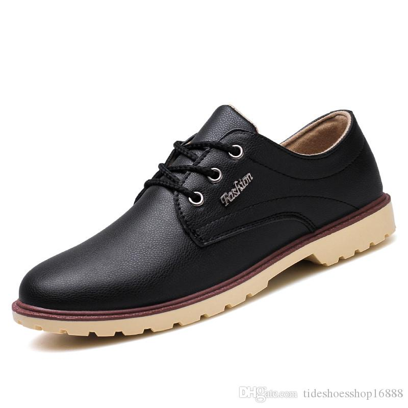 2018 Business Men S Basic Flat Shoes Leather Gentle Wedding Dress Shoes  Formal Wearing Shoes British Men Casual Round Toe Comfortable Black Shoe  Boots Sexy ... b4d90ec746f3