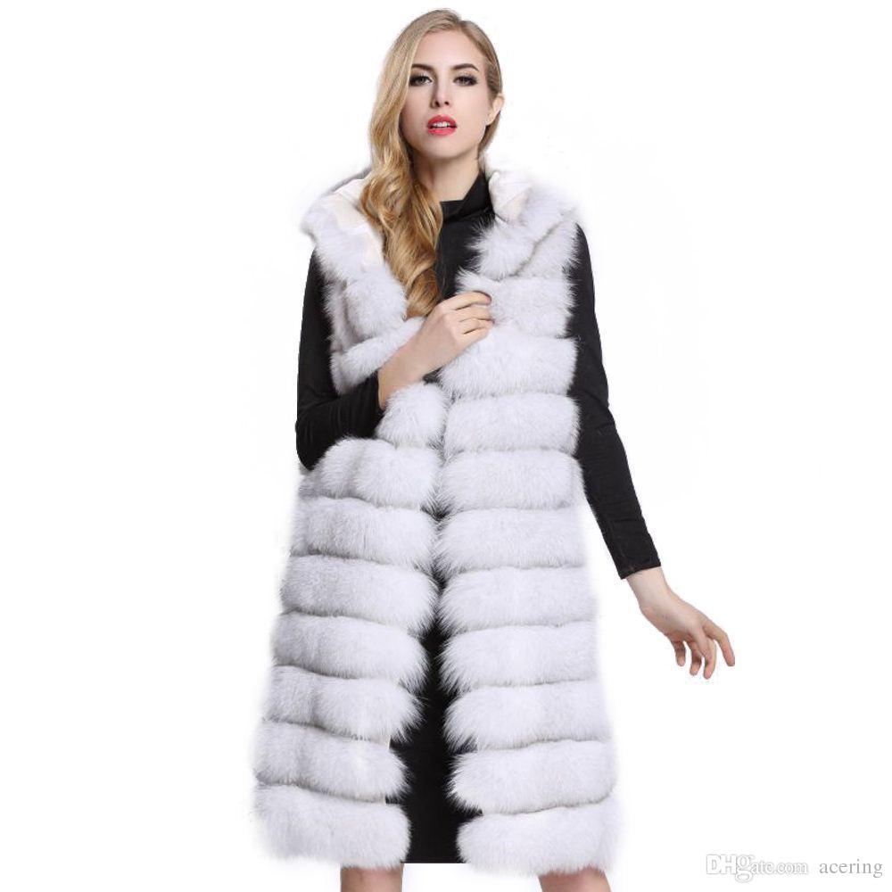 33099aa69379 Acquista Inverno Donna Lunga Pelliccia Sintetica Gilet Di Alta Qualità 11  Linee Con Cappuccio Femminile Pelliccia Abbigliamento Caldo Outwear A   139.98 Dal ...