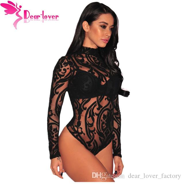 7c4c1f6ead 2019 2018 Bodysuits Women Rompers Skinny Jumpsuits Autumn Sexy Pink/Black  Sheer Mesh Print Button Long Sleeves Bodysuit From Dear_lover_factory, ...
