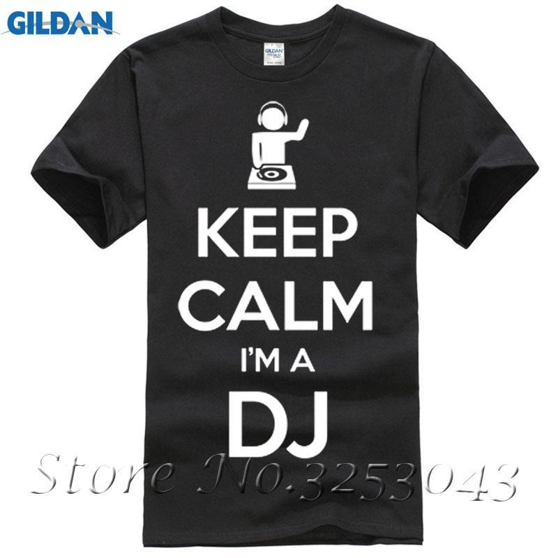 6e7563560f6de Сохраняйте спокойствие Я диск-жокей DJ мужская мужская футболка  танцевальная музыка подарок футболка