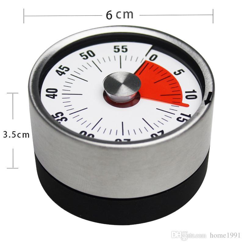 Nouveau Mini Mécanique Compte à rebours Cuisine Minuteries Outil En Acier Inoxydable Forme Ronde Temps De Cuisson Horloge Alarme Magnétique Minuteur Rappel