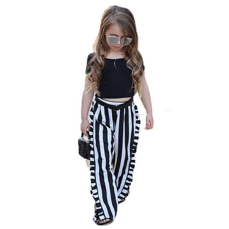 f22d67a9df45 Nueva moda Ropa para niñas Conjuntos de ropa para niños Negro Manga corta  Top Raya pantalones de pierna ancha 2 piezas Traje Ropa para niños