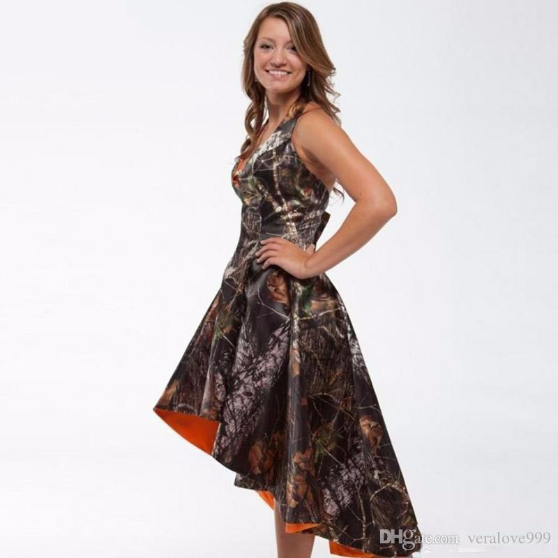 Newly Camo Prom Dresses High Low Realtree Camoflage Camo Pageant Dresses 2017 Hot Sale Sleeveless Formal Party Gowns