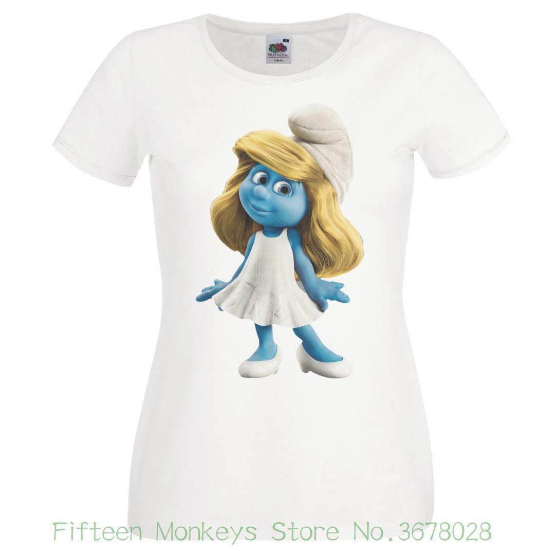 Damen Weiß Schlumpf T Shirt Smurfee Großhandel Pxtqd61d