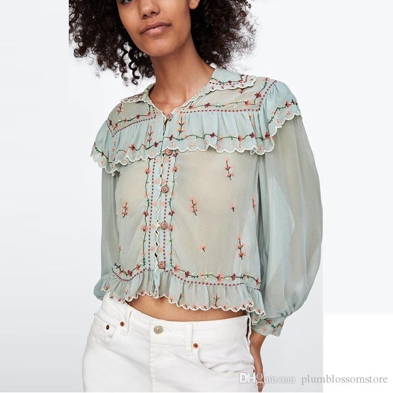 Women Flower Embroidered Blouses Chic Boho Spring Autumn Ruffles