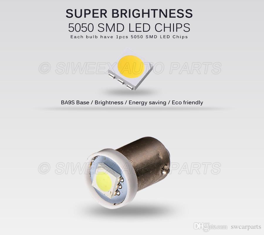 T4W BA9S 1 5050 SMD VOITURE LED Lumières Lecture Side Marker Ampoules Plaque D'immatriculation Dome Lampe Blanc 12 V