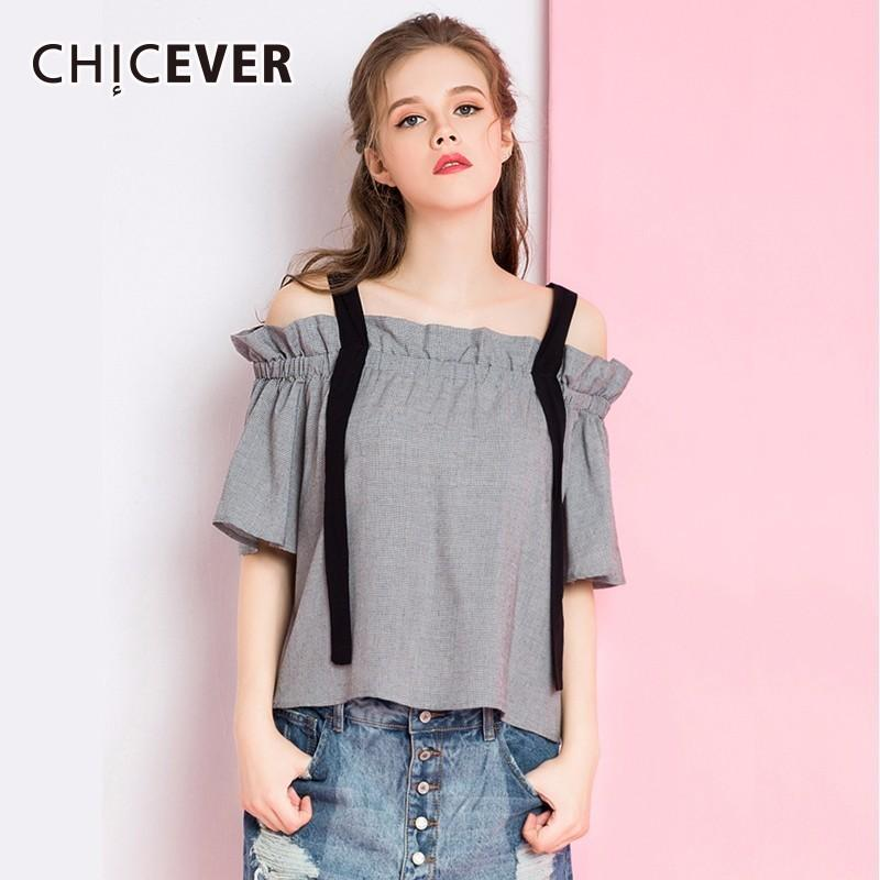 7c58cfa7c21c 2019 CHICEVER Sexy Ribbon Off Shoulder Clothes For Women Shirt Top Slash  Neck Half Sleeve Plaid Feminine Blouse Vintage Fashion Tide From Red2015