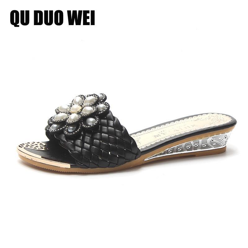 6f171f5415c83 2018 New Sting Bead Summer Women Platform Wedges Sandals Peep Toe Elegant  Pearl Beach Women Slides Ladies Outside Flip Flops Moccasins Thigh High  Boots From ...