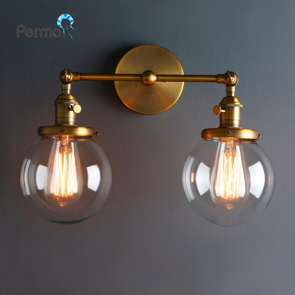 low priced d9cc6 364d4 Modern Vintage Loft Globe Glass Double Heads Wall Light Retro Glass Ball  Wall Lamp Country Style E27 Edison Sconce Lamp Fixtures