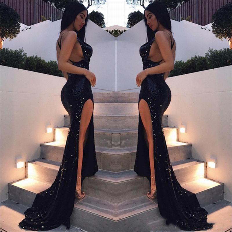 9feb22406cfd7 Sparkly Black Sequin Prom Dresses Sexy Split Graduation Dresses Party Gowns  Evening Dress Backless Sweet 16 Dresses Vestido De Festa Longo Black Prom  Dress ...