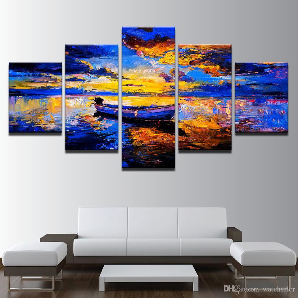 Lienzo HD Imprime Fotos Sala de estar Decoración Del Hogar Marco 5 Unidades Resumen Barco Vista al Mar Pinturas Sunset Boat Poster Wall Art
