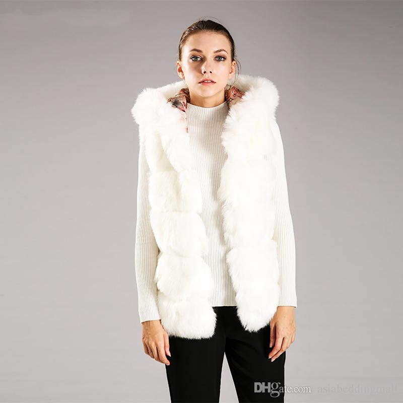 e969570f46e6 Women's Vest Hooded Cap Fur Fashion Luxury Thick Warm Vest Faux Fox ...