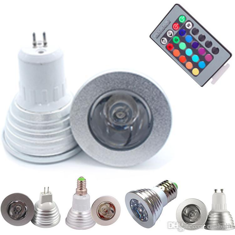 AC/DC12V 3W RGB LED Bulbs Light AC85-265V E27 GU10 E14 GU5.3 MR16 with 24 Key IR Remote Control 16 Color Changing