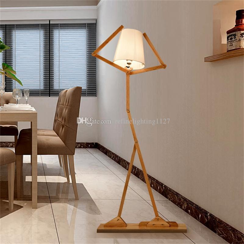 Nordic Creative Wooden Floor Lamps E27 Log Fabric Stand Lights