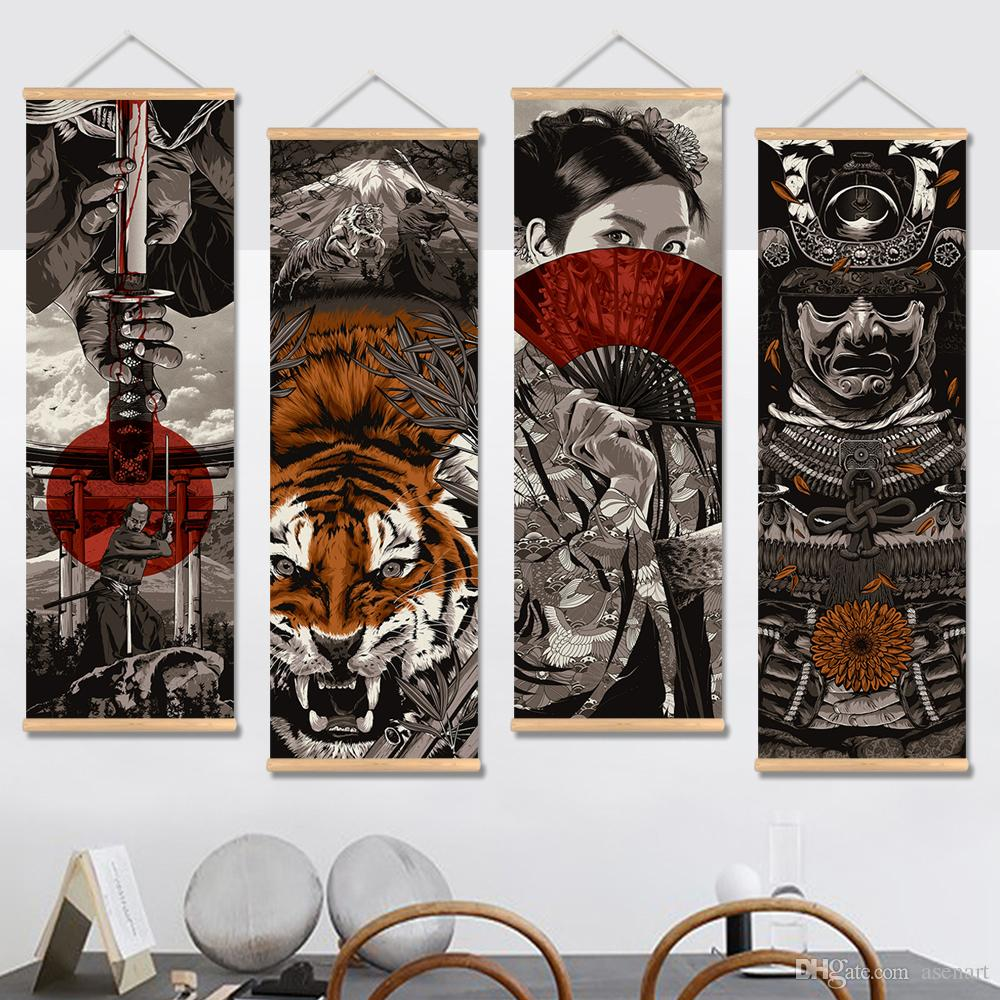 2019 Japanese Style Paintings Shops Wine Houses Tattoo Bars Canvas