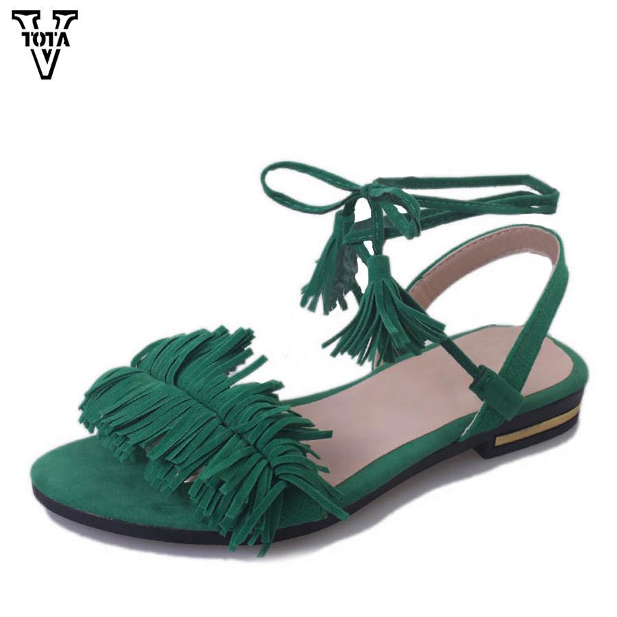 5484eb179 VTOTA Summer Shoes Gladiator Sandals Women Fashion Cross Strap Women  Sandals Ankle Tassel Flat Shoes Woman Sandalias Mujer QYXC Canada 2019 From  Annawawa