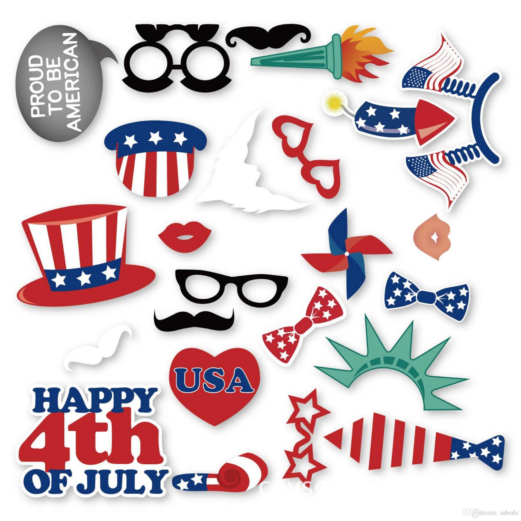 4th Of July Photo Booth Props Diy Kit For America Usa Independence