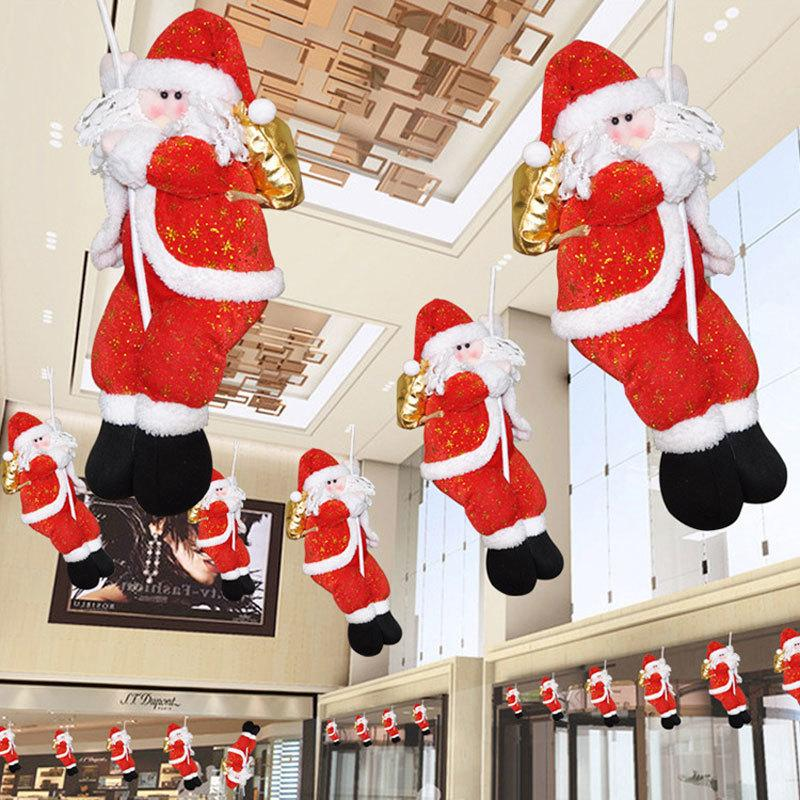 Christmas Ornament Rope Climbing Santa Claus Ceiling Decoration Hotel Room Holiday Home Decor Drop Ornaments Christmas Dolls D18110903