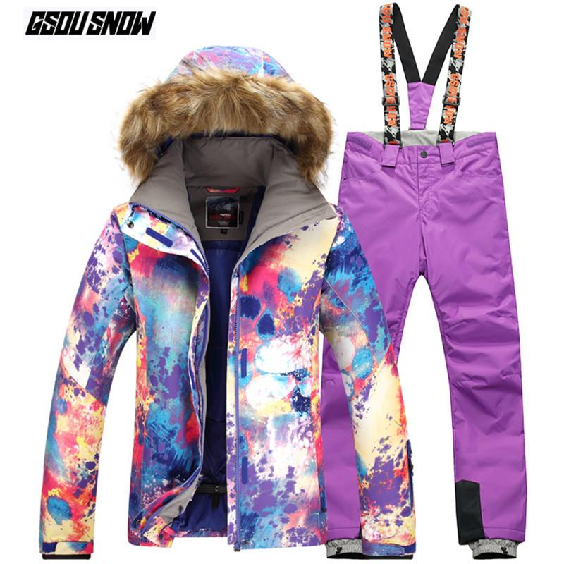 6ae04db14c 2019 GSOU SNOW Brand Ski Suit Women Ski Jackets Pants Winter Mountain  Skiing Suits Waterproof Snowboarding Jackets Pants Snow Clothes From  Fwuyun