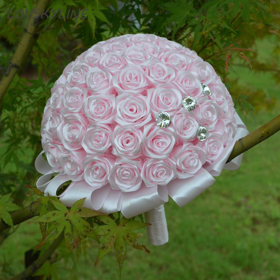 Real Photos Satin Rose Bouquet Handmade Ribbon Rose Wedding Flowers