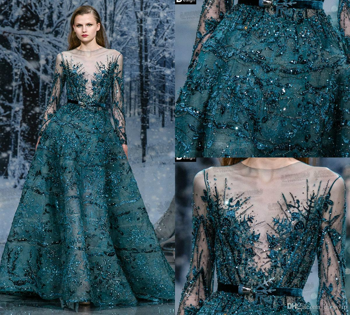 Zuhair Murad Atrovirens Bead Sequins Applique Evening Dresses Sash ...