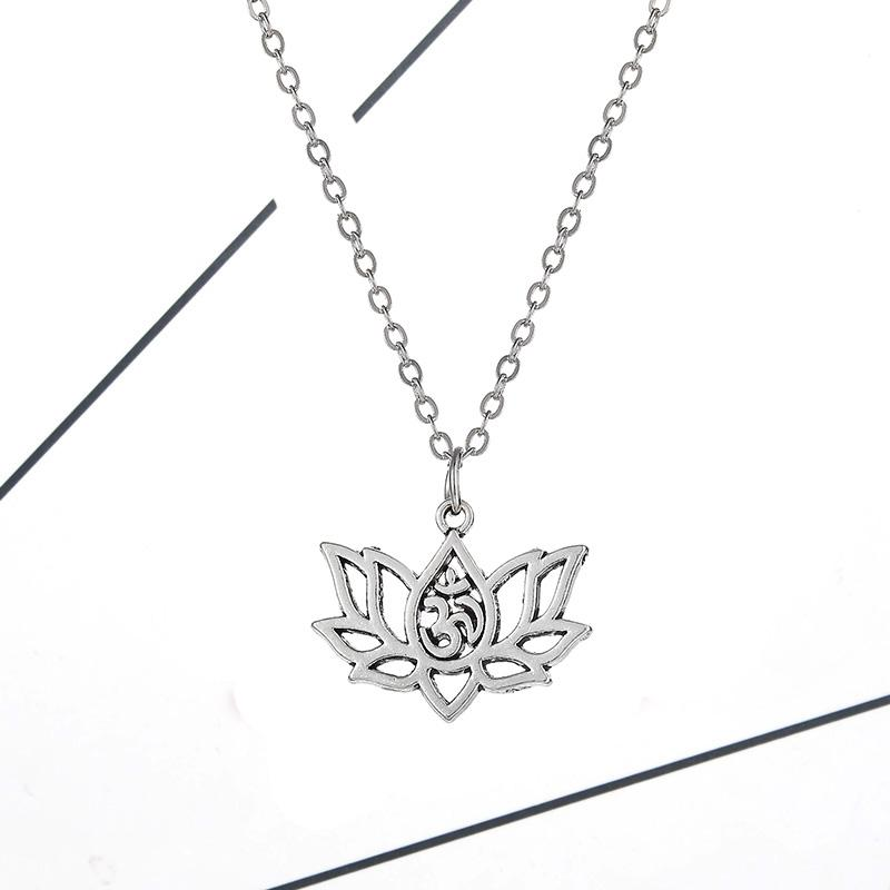 2019 Women Single Layer Necklace Pendant Gold Silver Lotus Flower