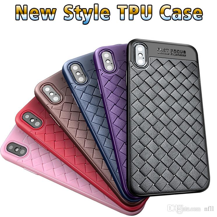 phone case for iphone 6 7 8 x fashion woven leather tpu soft shell