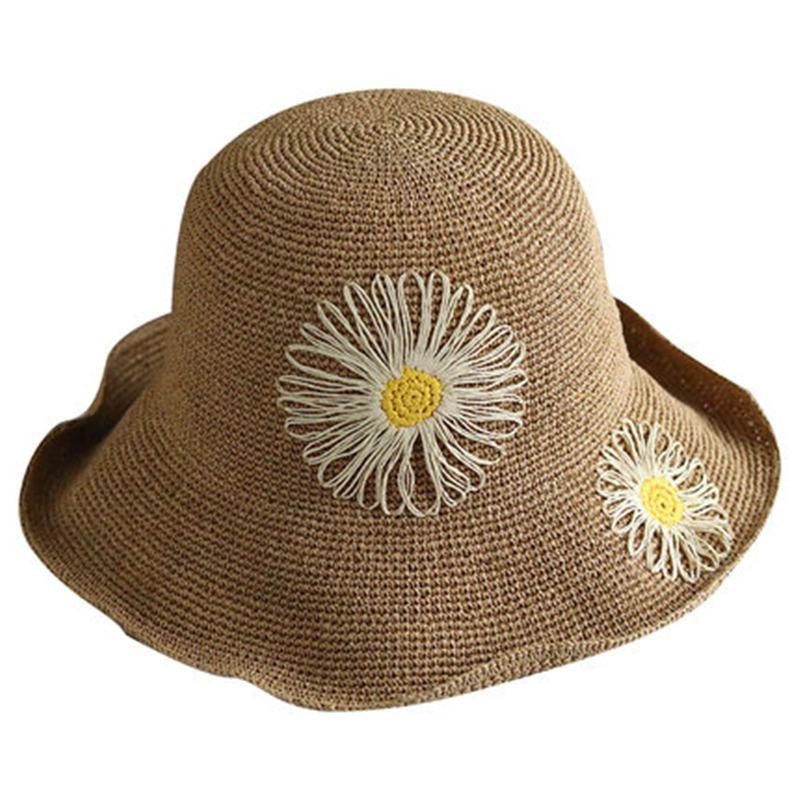 1e9750f682241 Summer Hat Female New Sun Visor Wild Travel Straw Hat Korean Version Of The  Outdoor Flower Basin Cap Sunscreen Folding DF Fur Hats Men Hats From  Rainbowwo