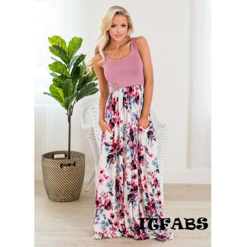 bd9bf6859408a Women Boho Long Maxi Dress Loose Plus Size Beach Holiday Casual Summer  Sleeveless Patchwork Sundress All White Summer Dress Party Dress Sleeves  From ...