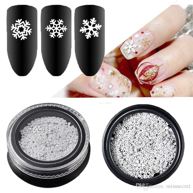 Christmas Snowflake Nail Art Sticker Glitter Mixed 3D Sequins White 3 Designs Manicure Decorations DIY Decals Nail Supplies