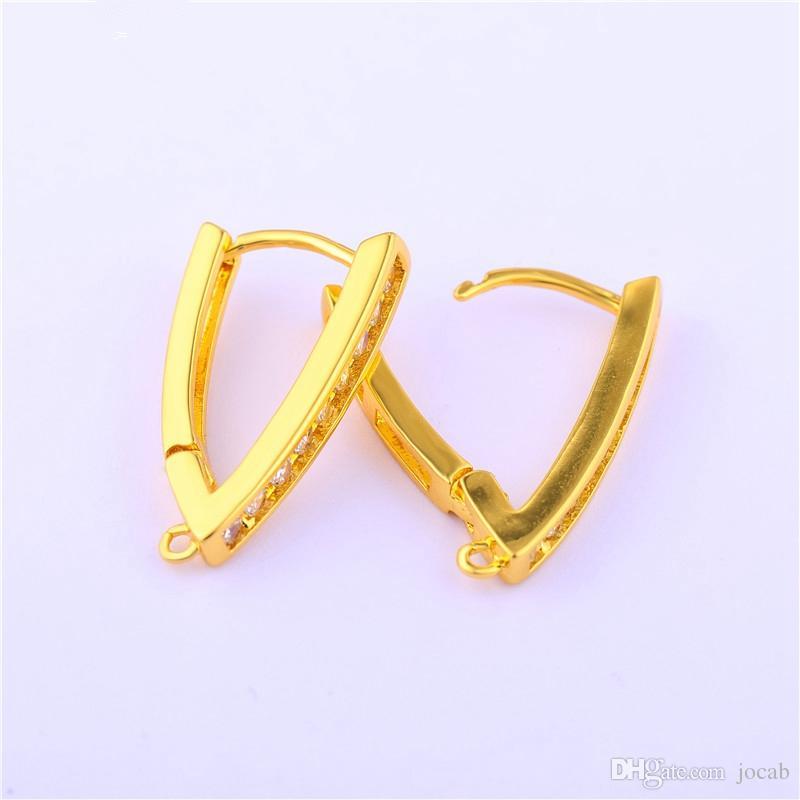Wholesale Handmade DIY Jewelry Findings Accessories Copper Zircon Rhinestone Hoop Earrings Ear Cuff Hook Clasps Making Connectors Fittings