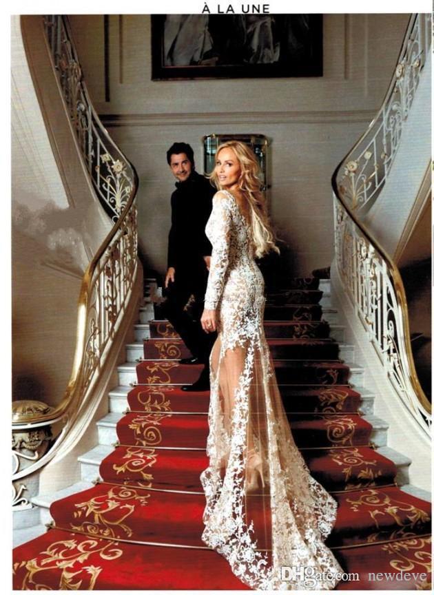 Zuhair Murad 2018 Sexy Sheer Lace Wedding Dress Long Sleeves V Neck Appliques Long Robe De Mariee Mermaid Wedding Dresses Bridal Gowns