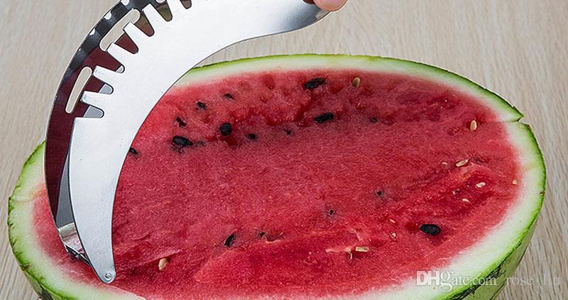 Été Pastèque Trancheur Melon Fruit Splitter Coupe Pastèque Multifonction Artifact Cuisine Outils De Qualité Alimentaire En Acier Inoxydable B