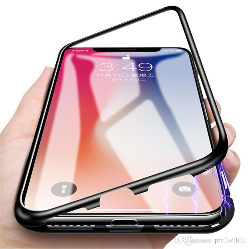 pretty nice 2f265 02fc0 Luxury Magnetic Adsorption Phone Case For iPhone X 8 7 Plus PC Magnet  Absorption Screen Protector Tempered Glass Flip Cover