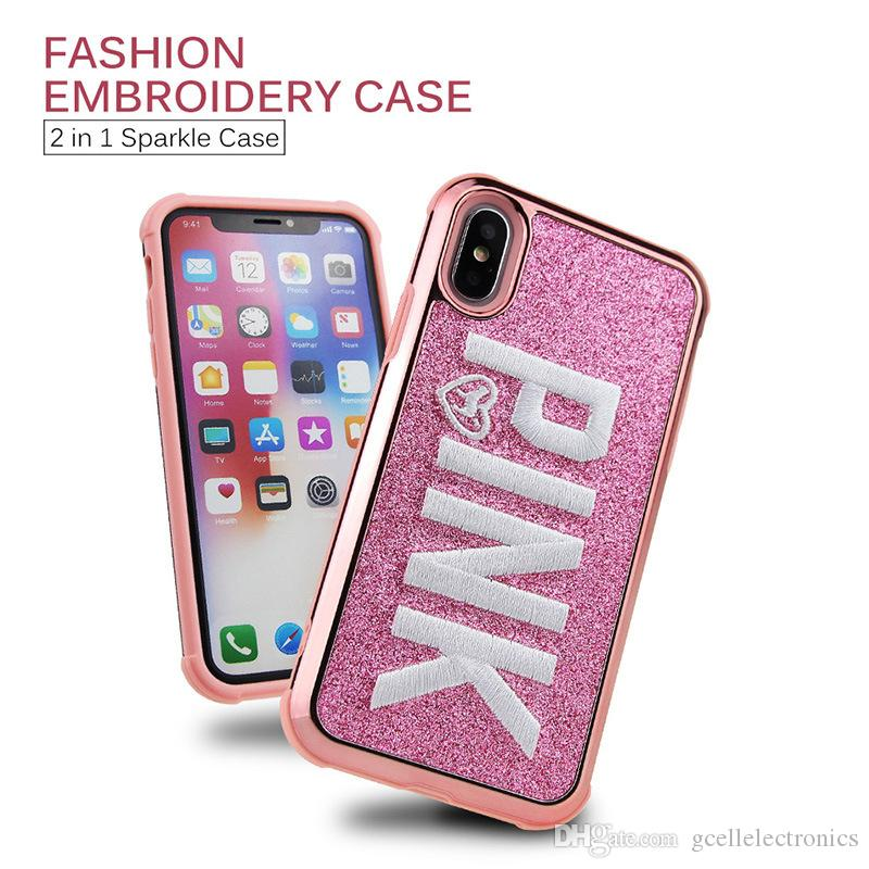 6b3120f224f Carcasas Moviles Funda Rosa Para Iphone XS Max XR Samsung Galaxy Note 9 S9  Plus Moda Bling Bordado 3D Glitter Lujo Shinny Cubiertas Del Teléfono  Celular ...
