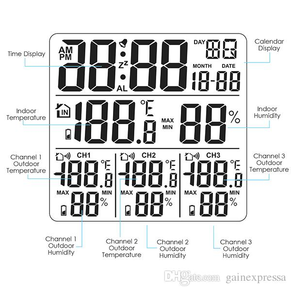 WEA-46 Digital Weather Station with Thermometer and Hygrometer, with 3 Indoor/ Outdoor Wireless Sensors with Alarm Clock for Temperature