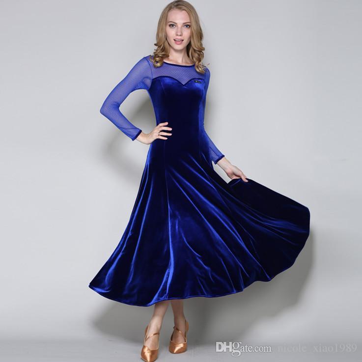 f582a3675b1 2019 New Adult Women Ballroom Dance Dress Ladies Modern Waltz Standard  Competition Practice Dance Dress Black Green Mesh Stitching Velvet Dress  From ...