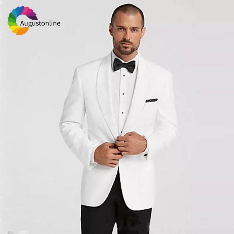 Acheter Mariage Blanc Hommes Costumes 2019 Smokings Marié Porter 2 Pièces  Veste + Pantalon Châle Revers Mariée Costumes Costume De Blazer Homme De   146.1 Du ... 699b0c151ae