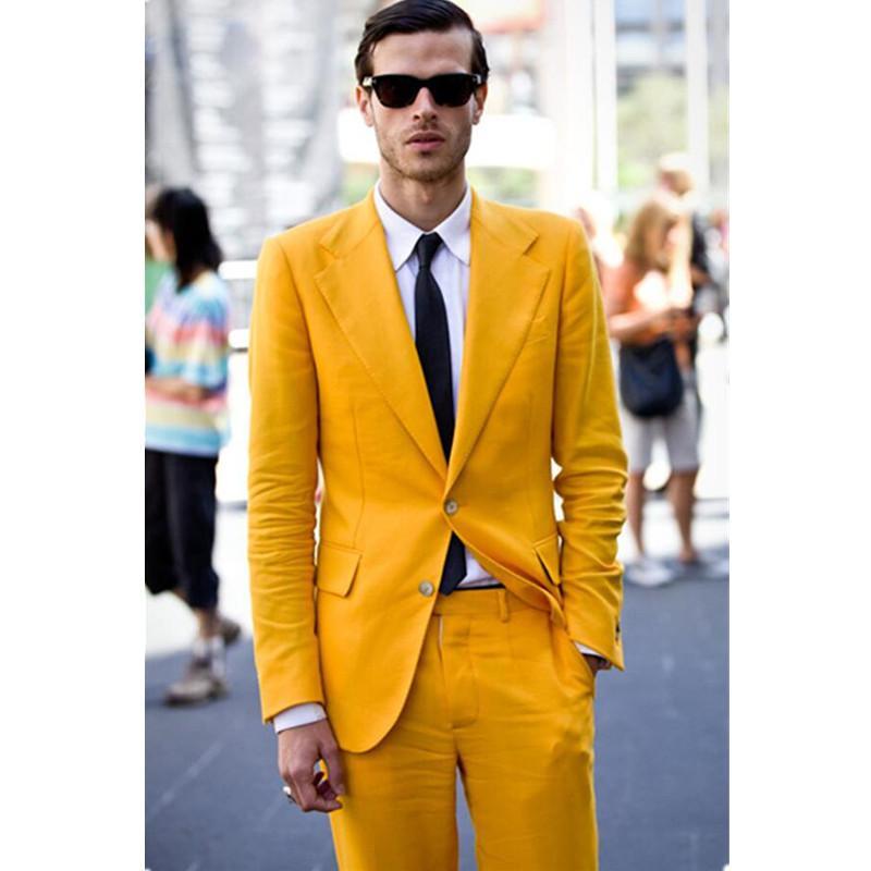 Compre Traje De Hombre Casual Amarillo Slim Fit 2 Piezas Traje De Baile De Lujo  Elegante Personalizado Para El Novio Chaqueta + Pantalones A  186.83 Del ... 55fb8a6cba3