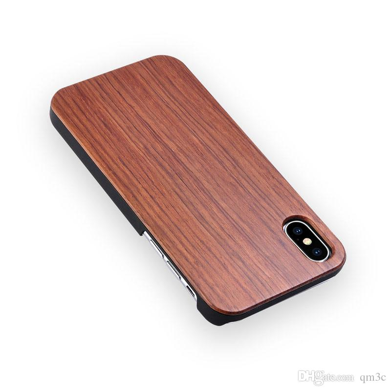Fashion Wood PC Phone Case For Iphone X 10 7 8 Apple 5 6 6s plus Waterproof Wooden Bamboo Cell phone Cover Hard Shell For Samsung galaxy s9