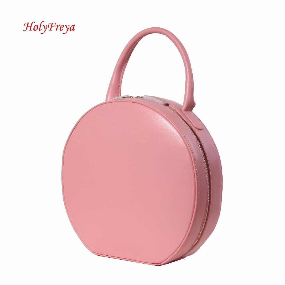 Tan Pink Genuine Leather Handbags Women Bag Designer Leather Bags Luxury Circular  Round Bag Circle Tote Clutch Female Leather Handbags Handbags On Sale From  ...