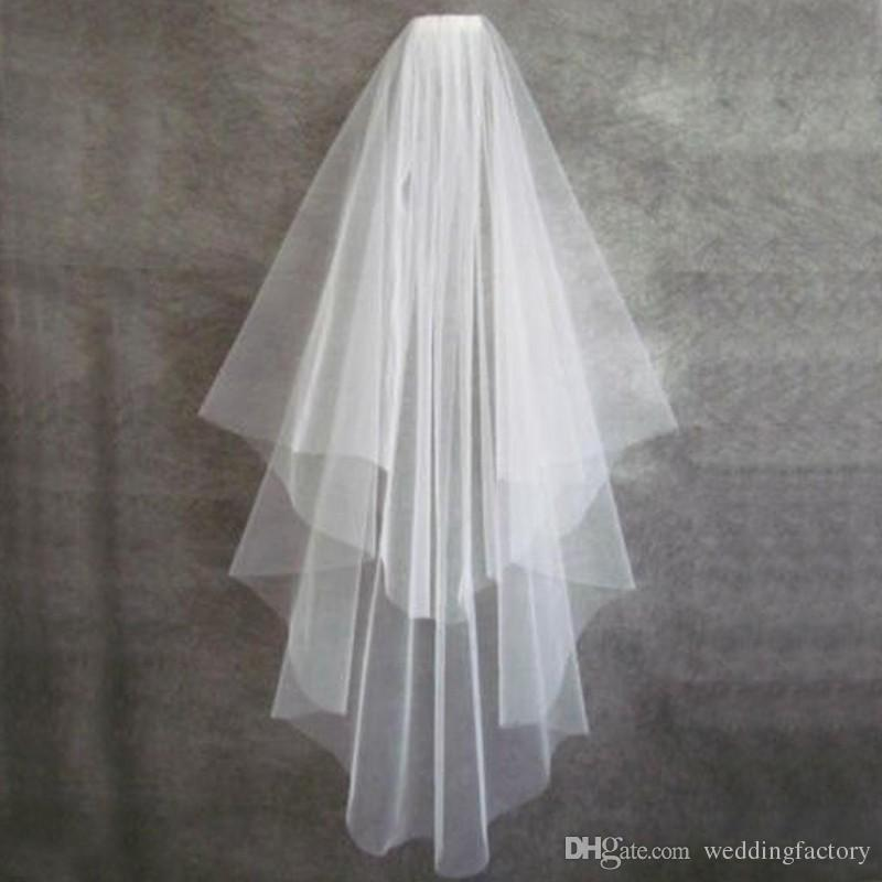 Simple Short Veil Two Layers White Ivory Champagne Bridal Veils Elbow Length with Comb Custom Made