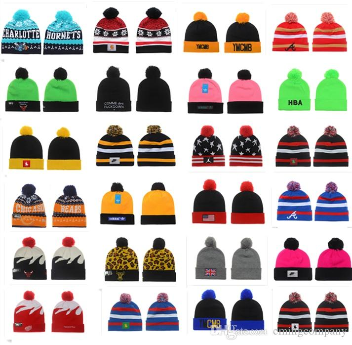 5c9fb2db9f6 Designer Brand Basketball Football Baseball Ice Hockey Team Beanie Hats Hip  Hop Knitting Winter Hat Caps Free Ship By DHL Cloche Hat Crochet Hats From  ...