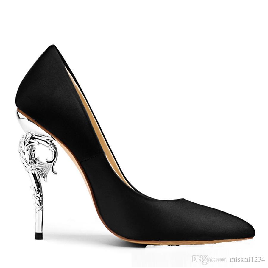 Women Fashion Real Wedding Shoes Satin Stiletto High Thin Heels Toe Bridal  Shoes Custom Made 10CM European American Sexy Dress High Heels Blue Shoes  Shoe ... fa89305bada0