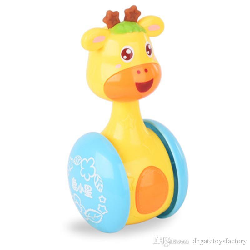 Funny Tumbler Toys For New Baby Cute Cartoon Intelligence Plastics Giraffe Shaped Animal Sliding Rattle Shaking Bell Educational Toys