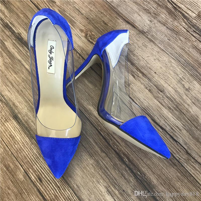 8f602b38bd Compre Frete Grátis Moda Feminina Senhora Azul Royal Camurça Ponto Toe  Sapatos De Salto Alto Fino Sapatos De Salto Alto Bombas De Couro Genuíno 10  Cm ...