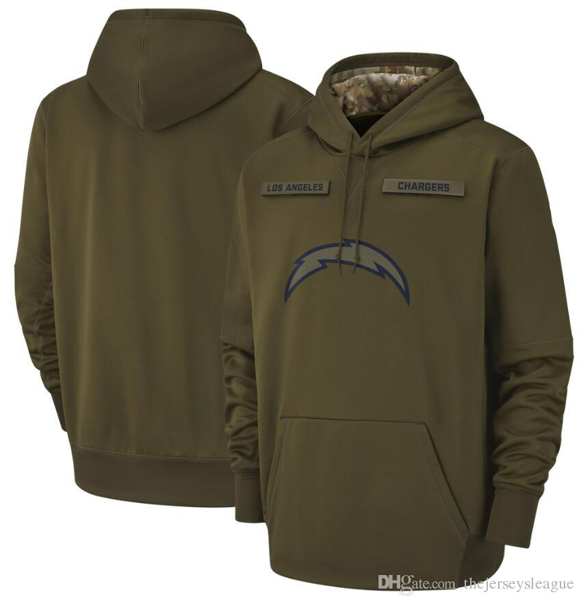 size 40 b969c 777e0 2018 men Los Angeles Sweatshirt Chargers Salute to Service Sideline Therma  Performance Pullover Hoodie Olive