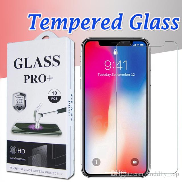 For iPhone XS Max XR Tempered Glass Sticker iPhone X 8 Screen Protector For iPhone 7 Plus Film 2.5D 9H Paper Package